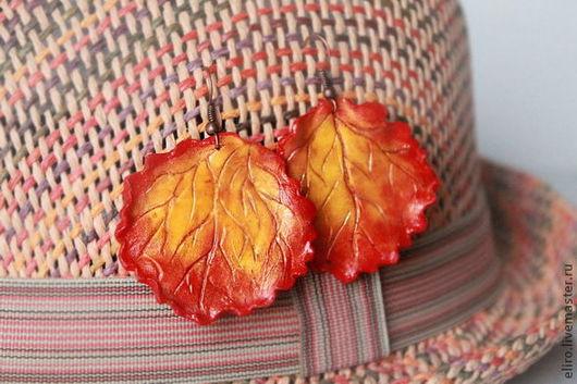 Серьги ручной работы. Ярмарка Мастеров - ручная работа. Купить Серьги листья Позитив. Handmade. Желтый, осенние листья