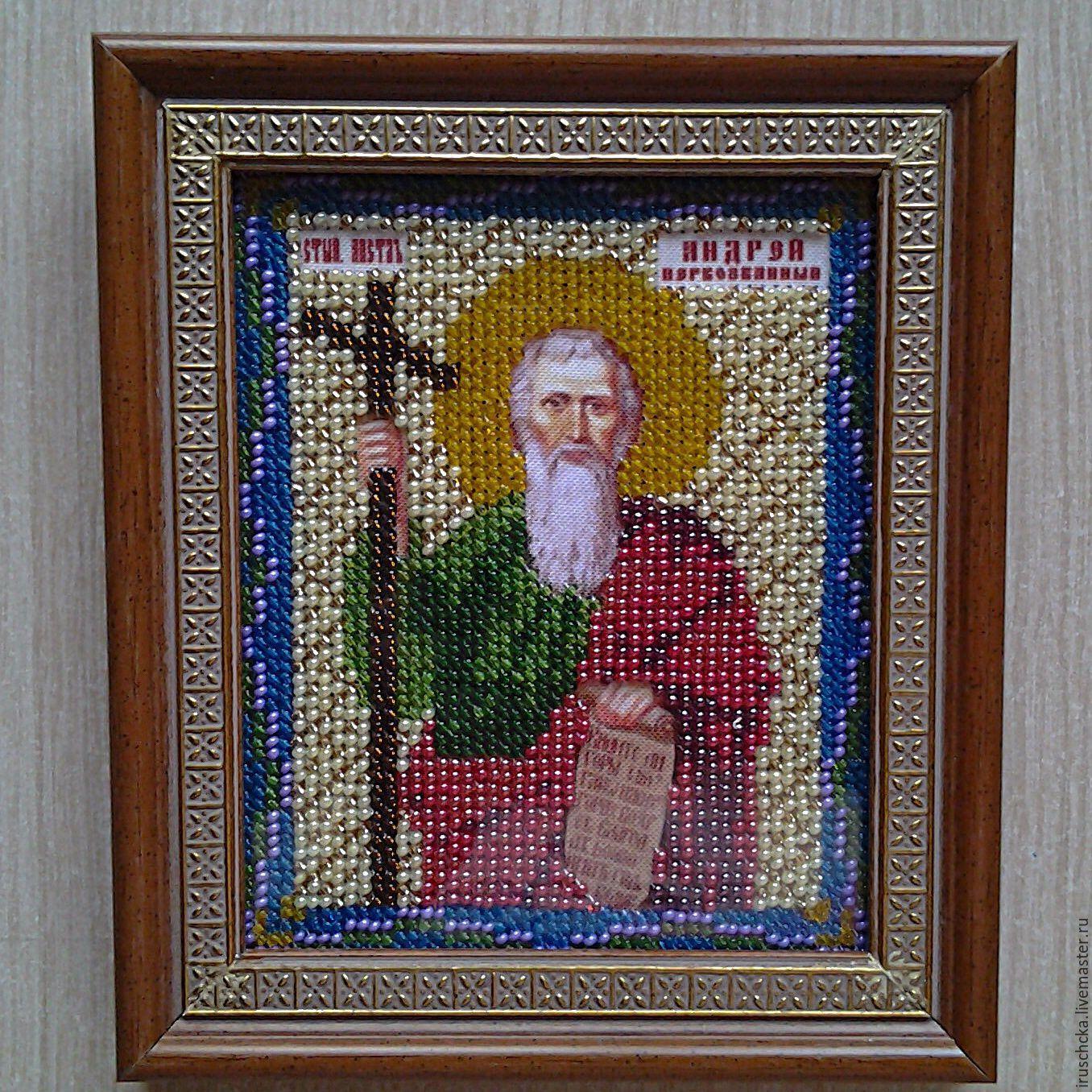 Икона `Андрей Первозванный`, вышитая чешским бисером и оформленная в деревянный багет.