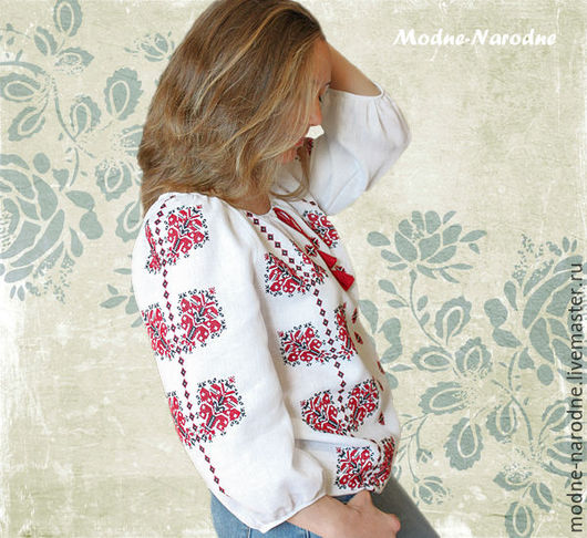Вышиванка женская ЯСНА, ручная вышивка. Этническая одежда Украинская вышиванка Льняная блуза Блузка вышитая Красное и белое.  Модная одежда с ручной вышивкой. Творческое ателье Modne-Narodne.