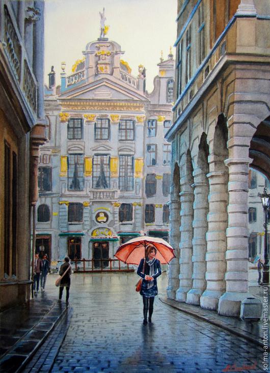 """Город ручной работы. Ярмарка Мастеров - ручная работа. Купить Акварель """" После дождя"""". Handmade. Голубой, улица, зонтик"""