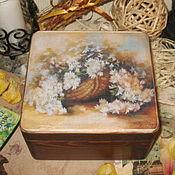 """Для дома и интерьера ручной работы. Ярмарка Мастеров - ручная работа """"Корзина белых цветов"""" короб для чая. Handmade."""