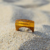 Украшения handmade. Livemaster - original item Oak and amber wood ring. Handmade.