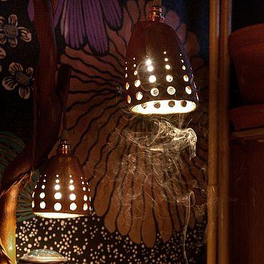 Для дома и интерьера ручной работы. Ярмарка Мастеров - ручная работа Лампа деревянная настольно-напольная с керамическими плафонами. Handmade.