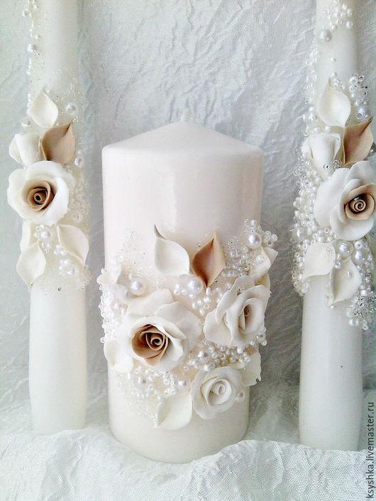 Свадебные аксессуары ручной работы. Ярмарка Мастеров - ручная работа. Купить свадебные свечи, семейный очаг. Handmade. Бежевый