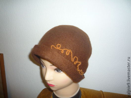 Шляпы ручной работы. Ярмарка Мастеров - ручная работа. Купить шляпка -клош. Handmade. Коричневый, маленькие поля, шляпка дамская