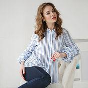 Одежда handmade. Livemaster - original item Blue striped boho cotton blouse. Handmade.