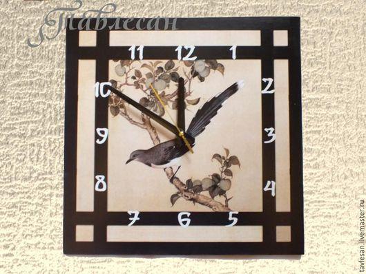 """Часы для дома ручной работы. Ярмарка Мастеров - ручная работа. Купить Часы настенные """"Сойка на ветке сливы"""" в японском стиле в гостиную. Handmade."""