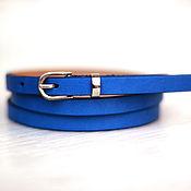 Аксессуары ручной работы. Ярмарка Мастеров - ручная работа Узкий кожаный ярко-синий ремень. Handmade.