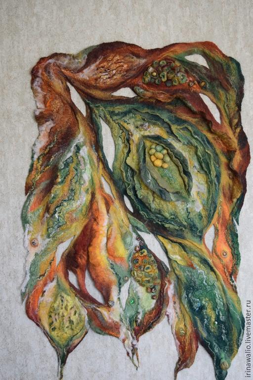 """Абстракция ручной работы. Ярмарка Мастеров - ручная работа. Купить валяное настенное панно """"зеленая абстракция"""". Handmade. Войлок"""