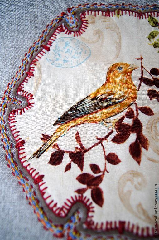 Текстиль, ковры ручной работы. Ярмарка Мастеров - ручная работа. Купить льняная  подушка винтажная с птицей. Handmade. Льняная подушка