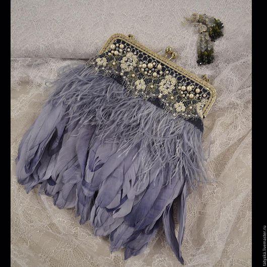 Женские сумки ручной работы. Ярмарка Мастеров - ручная работа. Купить Сумка из перьев. Handmade. Серый, сумка с декором