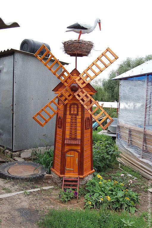 Экстерьер и дача ручной работы. Ярмарка Мастеров - ручная работа. Купить Мельница для сада и дачи. Handmade. Оранжевый, сосна, для сада