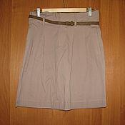 Винтаж handmade. Livemaster - original item Beige skirt with pockets, belt skirt, short skirt. Handmade.