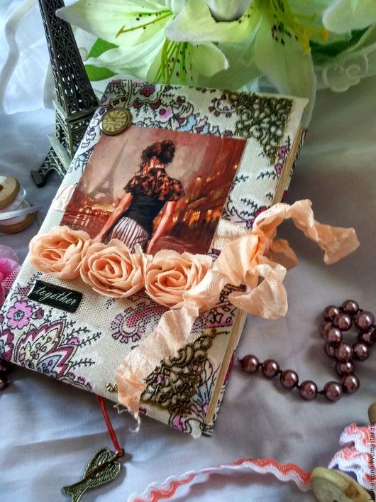 """Блокноты ручной работы. Ярмарка Мастеров - ручная работа. Купить Блокнот""""Вместе"""". Handmade. Комбинированный, вместе, цветы, шебби ленты"""
