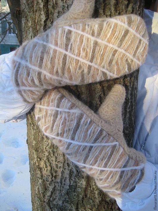 Варежки, митенки, перчатки ручной работы. Ярмарка Мастеров - ручная работа. Купить варежки. Handmade. Бежевый, варежки теплые