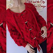 """Одежда ручной работы. Ярмарка Мастеров - ручная работа Вязаный красный свитер """"Style and the City"""" от Olga Lace. Handmade."""