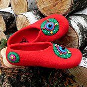 """Обувь ручной работы. Ярмарка Мастеров - ручная работа Валяные тапочки """"Для нее, а может... для него"""" р. 42. Handmade."""