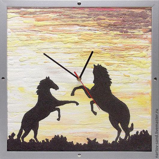 """Часы для дома ручной работы. Ярмарка Мастеров - ручная работа. Купить """"ЗОЛОТОЙ ЗАКАТ"""" из песка авторские часы. Handmade. Оранжевый"""