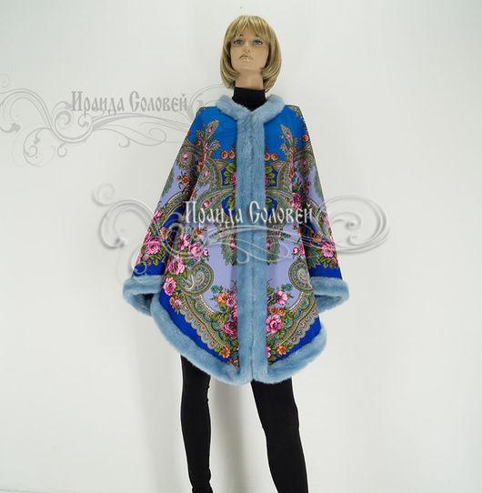 Авторская пальто-накидка из шерстяного павловопосадского платка Серебро (100% шерсть)