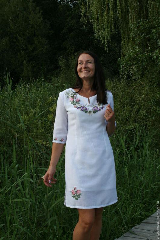 Платья ручной работы. Ярмарка Мастеров - ручная работа. Купить Платье с вышитыми цветами. Handmade. Цветочный, вышивка, лён