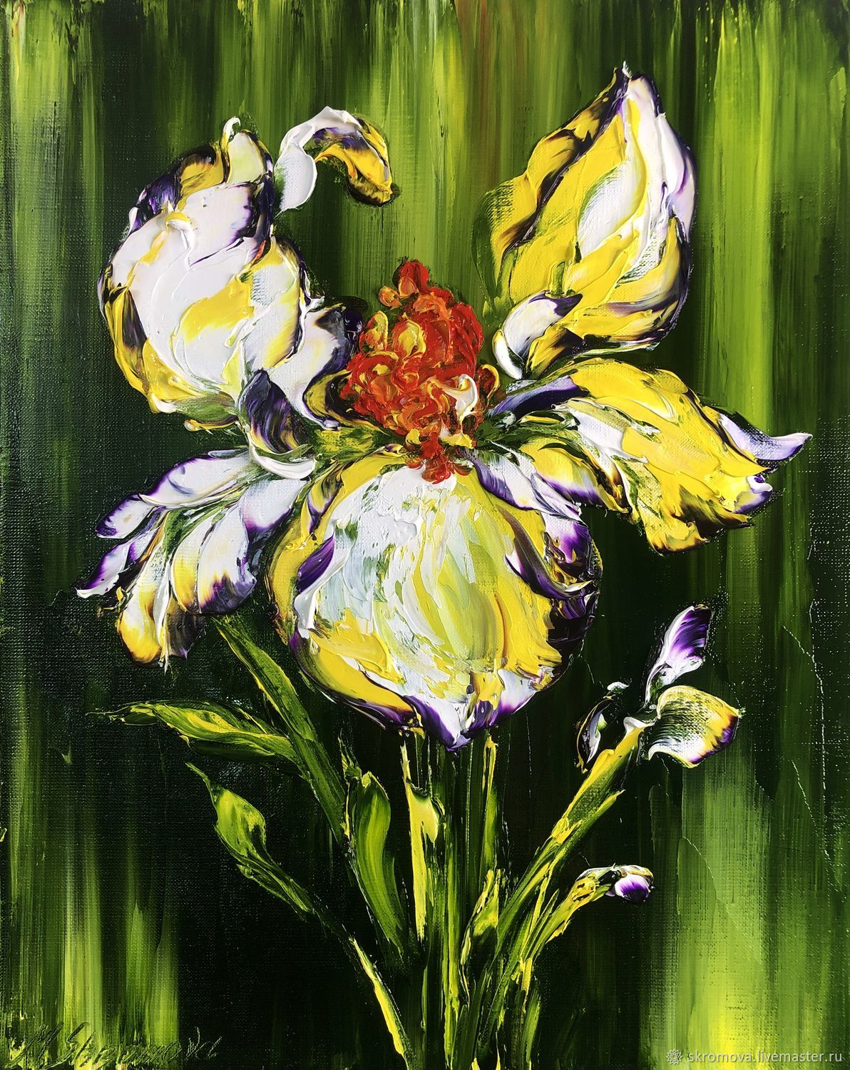 Painting with a large iris. White iris in the picture. The picture in the living room, Pictures, Moscow,  Фото №1