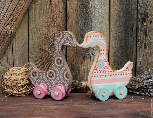 Игрушки животные, ручной работы. Ярмарка Мастеров - ручная работа. Купить Два веселых гуся. Handmade. Комбинированный, Декупаж