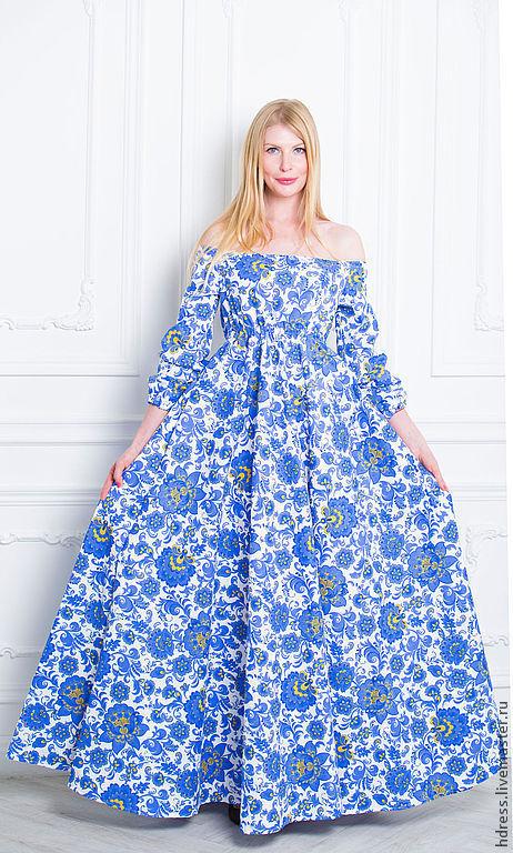 """Платья ручной работы. Ярмарка Мастеров - ручная работа. Купить Платье """"Гжель"""" длинное с открытыми плечами. Handmade. Цветочный"""