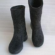 Обувь ручной работы handmade. Livemaster - original item Boots felted Graphite. Handmade.