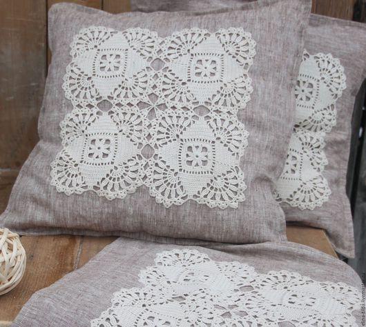 Текстиль, ковры ручной работы. Ярмарка Мастеров - ручная работа. Купить Интерьерная кружевная подушка. Handmade. Бежевый, подушка, лён