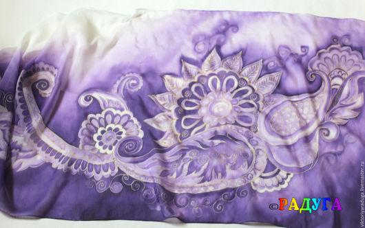 """Шали, палантины ручной работы. Ярмарка Мастеров - ручная работа. Купить Палантин """"Пейсли цвета violet"""" - батик. Handmade. Фиолетовый"""