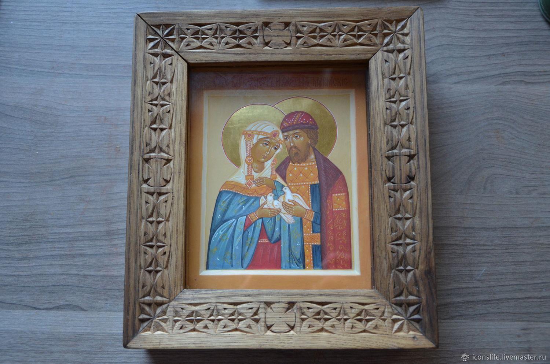Икона Св Петра и Февронии в киоте, Иконы, Москва,  Фото №1