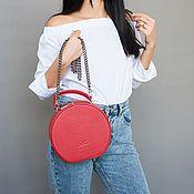 Саквояж ручной работы. Ярмарка Мастеров - ручная работа Красная сумка через плечо ягодного цвета (арбуз). Handmade.