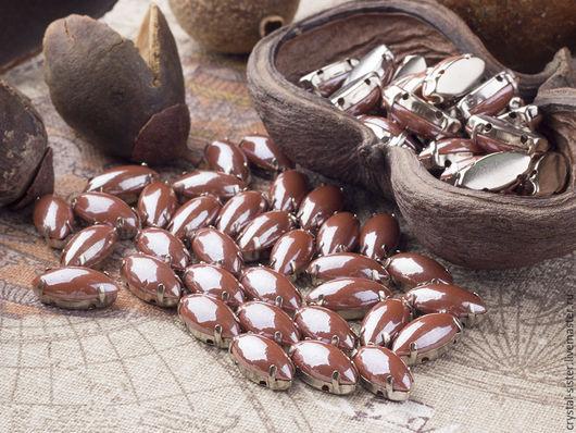 Для украшений ручной работы. Ярмарка Мастеров - ручная работа. Купить Стразы в цапах перламутровые наветт 14х7мм Какао. Handmade.