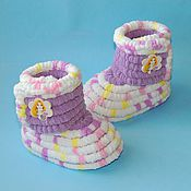 Работы для детей, handmade. Livemaster - original item Knitted shoes Booties boots plush, baby shoes, color purple. Handmade.