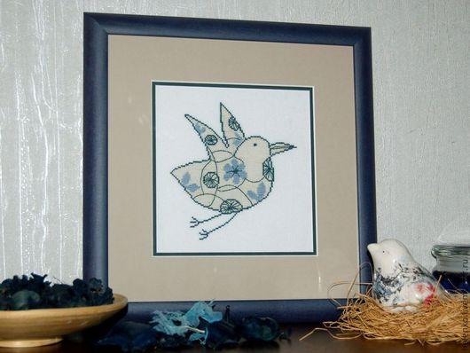 """Животные ручной работы. Ярмарка Мастеров - ручная работа. Купить Вышитая картина """"Птица счастья"""". Handmade. Тёмно-синий"""