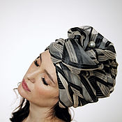 Аксессуары handmade. Livemaster - original item Black and biege silk organza turban with a bead Pearl. Handmade.