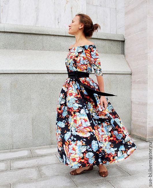 """Платья ручной работы. Ярмарка Мастеров - ручная работа. Купить Длинное платье в цветочек """"Танго"""". Handmade. Длинное платье"""