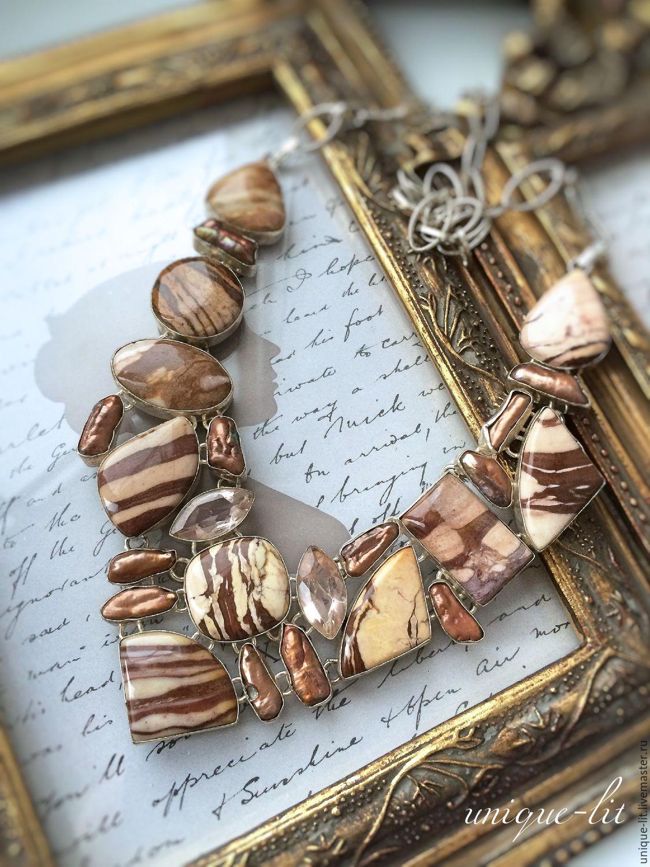 Necklace-striped Jade and Pearls Biwa, Necklace, Pushkino,  Фото №1