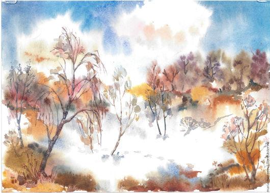 """Пейзаж ручной работы. Ярмарка Мастеров - ручная работа. Купить """"Солнечная оттепель"""", акварель, А4. Handmade. Рыжий, желтый, Снег"""