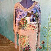 Одежда ручной работы. Ярмарка Мастеров - ручная работа Счастливый домик Платье вязаное с валяным декором. Handmade.