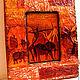 Пейзаж ручной работы. Ярмарка Мастеров - ручная работа. Купить панно Африка. Handmade. Рыжий, для дома и интерьера, дерево, сизаль