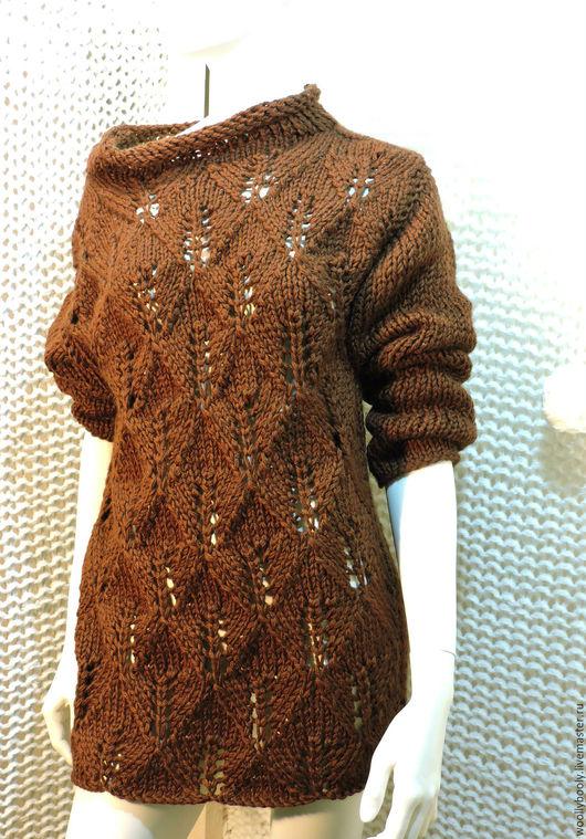 Кофты и свитера ручной работы. Ярмарка Мастеров - ручная работа. Купить Chokonut, вязаный спицами удлиненный ажурный пуловер из мериноса. Handmade.