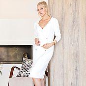 Одежда ручной работы. Ярмарка Мастеров - ручная работа Платье белое, платье в деловом стиле. Handmade.