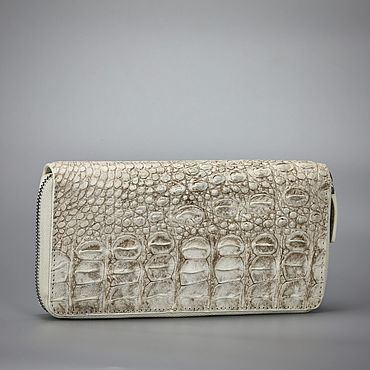 Bags and accessories handmade. Livemaster - original item Himalayan crocodile leather zip wallet. Handmade.