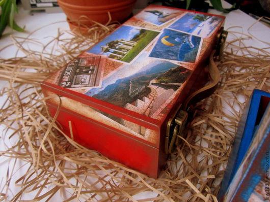 Шкатулки ручной работы. Ярмарка Мастеров - ручная работа. Купить Чемодан ретро красный. Handmade. Бордовый, чемодан-мини