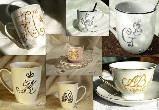 Кружки и чашки ручной работы. Ярмарка Мастеров - ручная работа. Купить Чашки и кружки с монограммой. Handmade. Чашка, сувениры и подарки