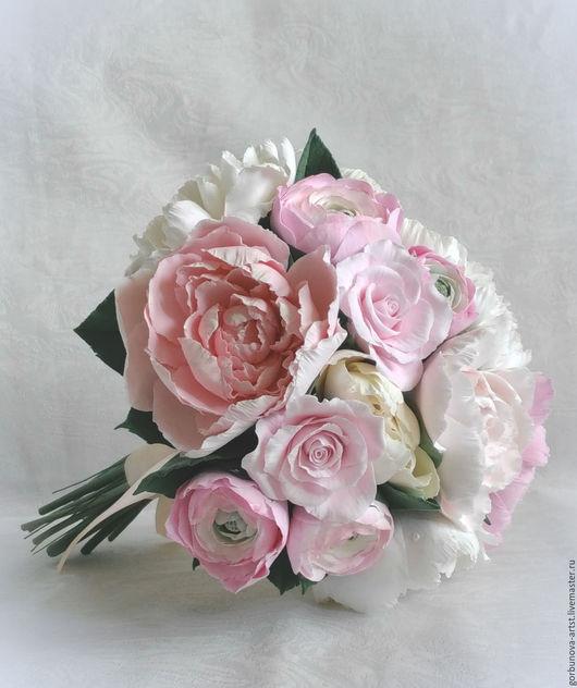 Свадебный букет, для невесты из полимерной глины, в свадебном букете пионы, рунункулюсы, розы, все выполнено в ручную мастером керамо-флористом  Анной Горбуновой