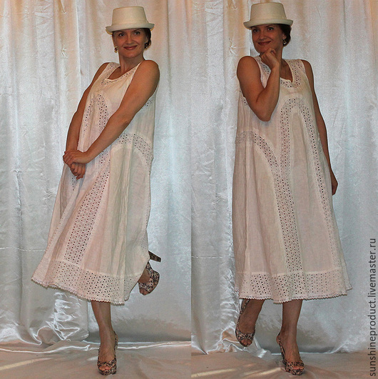 """Платья ручной работы. Ярмарка Мастеров - ручная работа. Купить Платье """"Белый лотос"""". Handmade. Пляжная мода, платье, лён"""