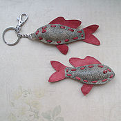 Сумки и аксессуары handmade. Livemaster - original item Keychain fish-Rudd from the skin. Handmade.