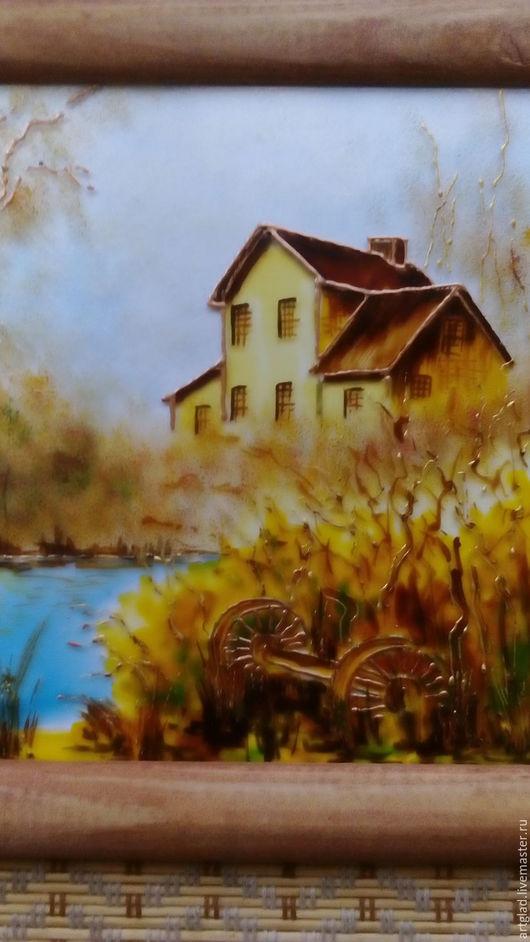 """Пейзаж ручной работы. Ярмарка Мастеров - ручная работа. Купить Картина на стекле """"Осень"""". Handmade. Авторская ручная работа, пейзаж"""